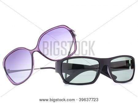 Stylish sunglasses pair isolated on white background cutout