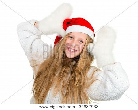 Smiling Girl In Santa Hat And White Mittens