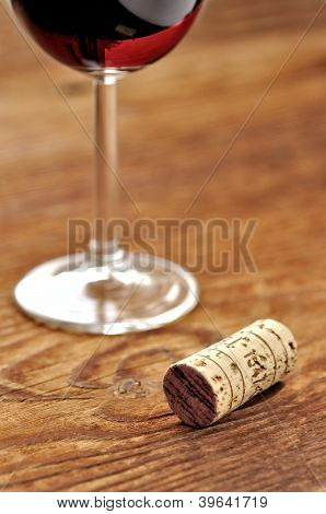 Cork And Glass Of Italian Red Wine