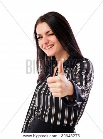 Happy Businesswoman Winking While Showing Thumbs Up Sign