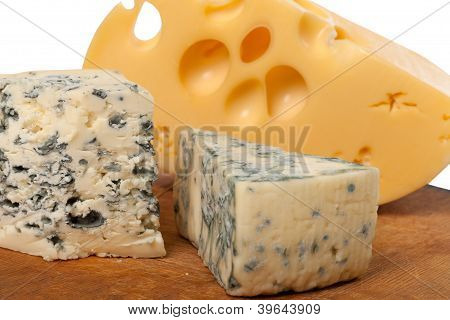 Dorblu And Other Cheeses On Wooden Board