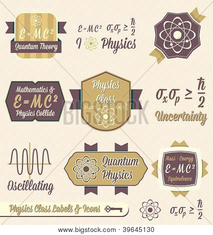 Vintage Physics Class Labels and Icons