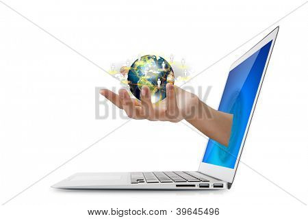 Hand holding social network  (Elements of this image furnished by NASA)