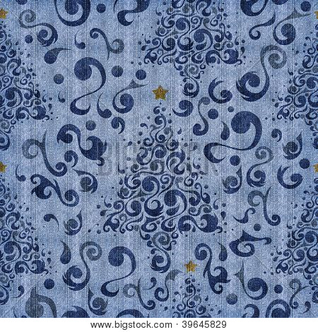 Christmas Tree Blue Denim Pattern