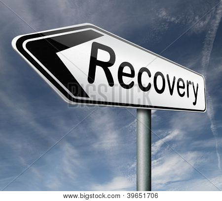 recovery economic growth market recovery button icon road sign arrow