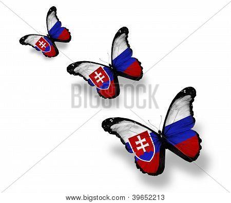 Tres mariposas de bandera Eslovaca, aisladas en blanco