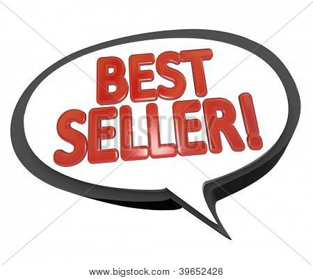 The words Best Seller in red letters inside a speech bubble cloud to give a review or testimonial on the high sales of a product or item