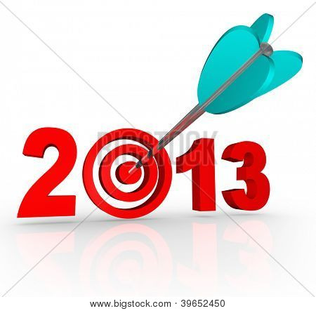 The year 2013 with an arrow in a bullseye target inside the number to symbolize targeted goals for the new year