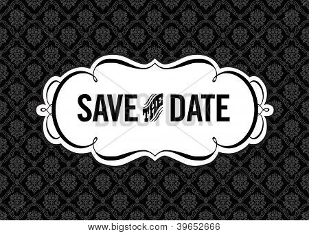 Vector Save the Date Ornate Frame. Easy to edit. Perfect for invitations or announcements.