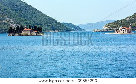 Two Islets Off The Coast Of Perast In Bay Of Kotor, Montenegro