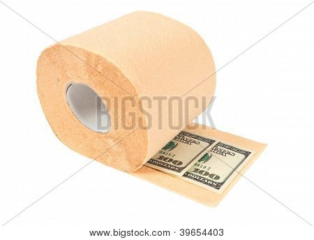 Roll Of Toilet Paper And Money Isolated On White Background