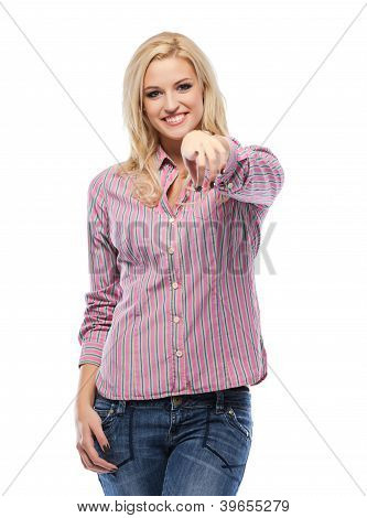 Happy Blonde Woman Pointing