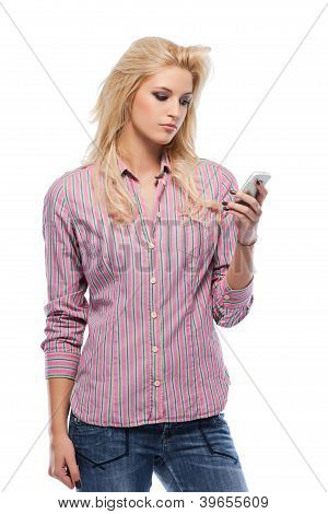 Serious Blonde Woman Holding A Cellphone