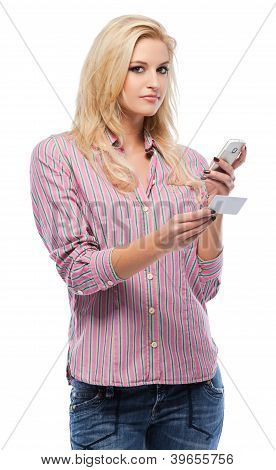 Blonde Woman With Her Cellphone And Businesscard