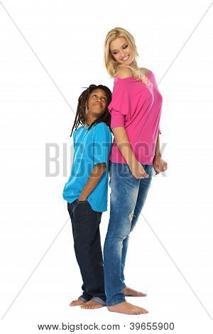 Sister And Bother Posing In Studio
