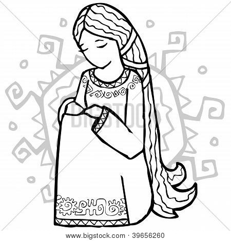Sad ethnic style girl with sun at her back