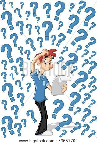 Confused cartoon man surrounded by question marks