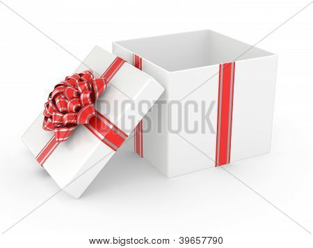 Open White Gift Box With Red Glossy Ribbon Bow