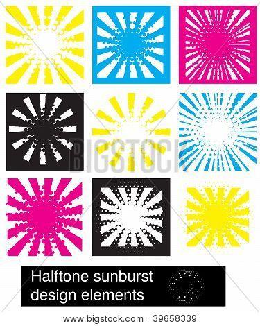 Sunburst Halftone Design Elements
