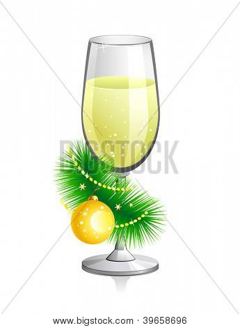 Raster illustration of champagne glass with Christmas attributes. Isolated on white background.