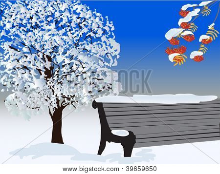 illustration with tree and bench under snow