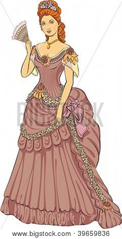 Young beautiful lady in victorian fashioned dress. Editable vector illustration.