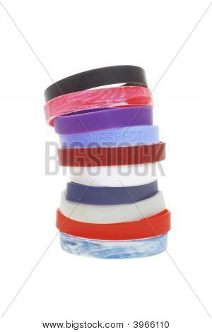Stack Of Colorful Wrist Bands