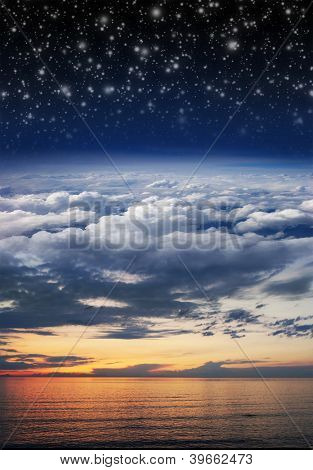 Collage: ocean, sunset, sky, clouds, stratosphere and space in one image