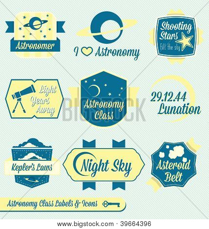 Vintage Astronomy Class Labels and Icons