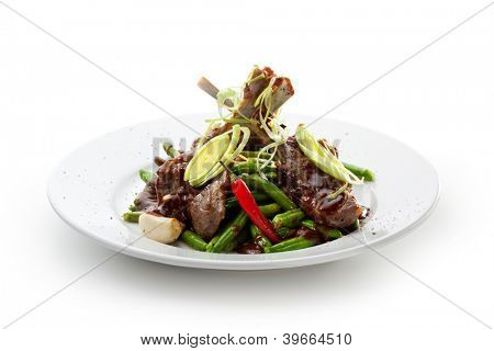 Rack of Lamb with String Beans, Garlic, Onions and Chili Pepper