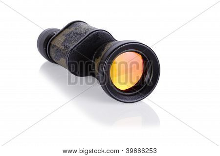 military colored monocular isolated on white