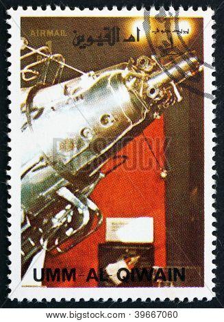 UMM AL-QUWAIN - CIRCA 1972: a stamp printed in the Umm al-Quwain shows Sputnik 3 Spacecraft, History of Spaceflight, circa 1972