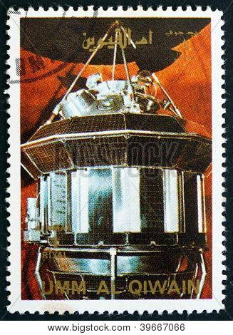 UMM AL-QUWAIN - CIRCA 1972: a stamp printed in the Umm al-Quwain shows Luna 3 Spacecraft, History of Spaceflight, circa 1972
