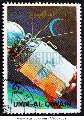 UMM AL-QUWAIN - CIRCA 1972: a stamp printed in the Umm al-Quwain shows Model of a Vostock Spacecraft, History of Spaceflight, circa 1972