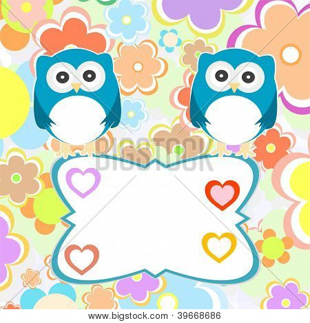 Cute Baby Boy Owlet Against The Background Of Flowers And Hearts