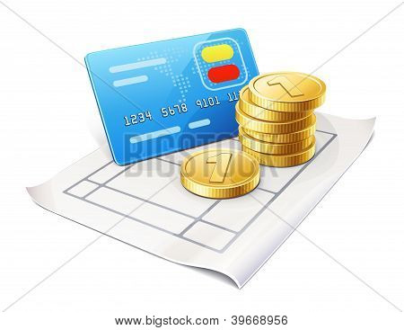 Credit Card And Coins On The Sheet