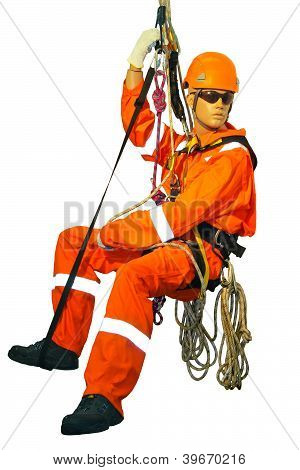 Mannequin In Overalls Steeplejack On A White Background