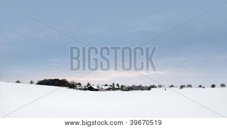 Panoramic Winter Scenery In Hohenlohe