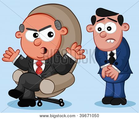 Business Cartoon - Boss Man Angry at Employee
