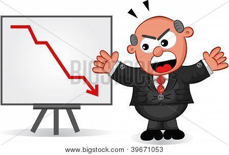 Business Cartoon - Cartoon Boss Man Angry at Chart