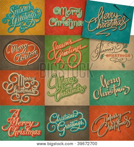 Christmas vintage cards set (vector)