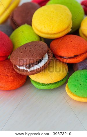 Variety Of Colorful Marron Cookies