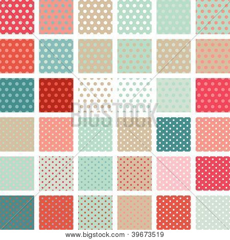 Seamless abstract retro pattern. Set of 36 polka dots textures.