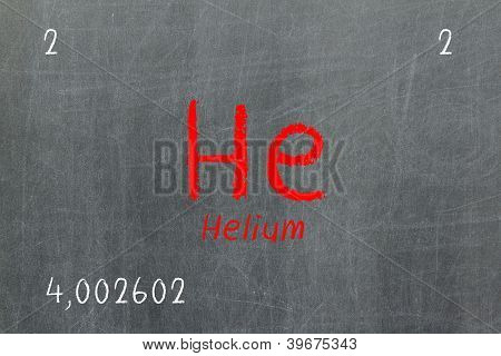 Isolated Blackboard With Periodic Table, Helium