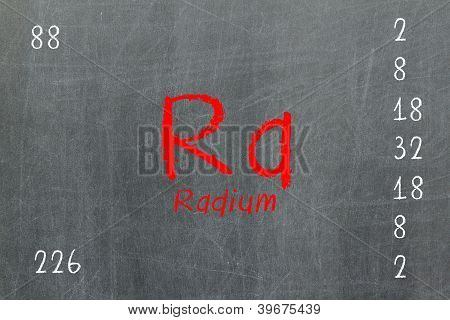 Quadro-negro isolado com tabela periódica, Radium
