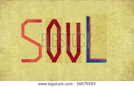 Earthy background image and design element depicting the word SOUL