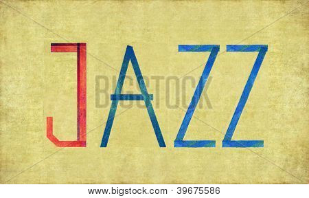 Earthy background image and design element depicting the word JAZZ