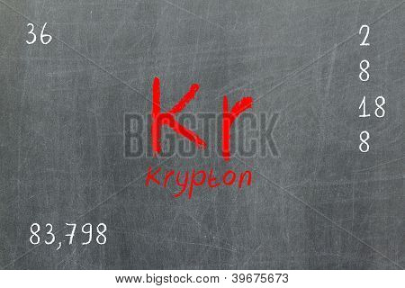 Isolated Blackboard With Periodic Table, Krypton