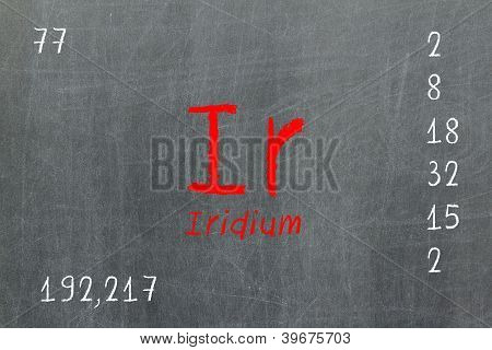 Isolated Blackboard With Periodic Table, Iridium