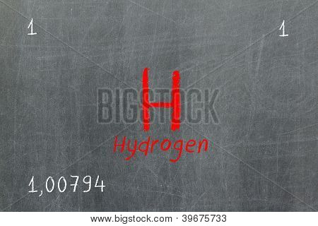 Isolated Blackboard With Periodic Table, Hydrogen